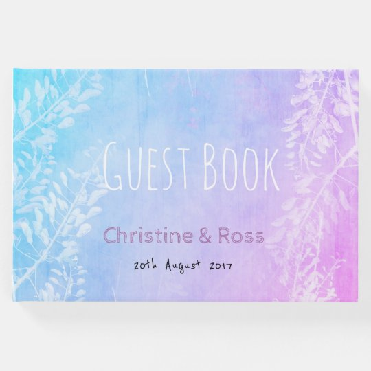 Personalised, colourful, floral wedding guest book