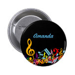Personalised Colourful Jumbled Music Notes on 6 Cm Round Badge