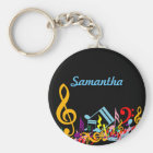 Personalised Colourful Jumbled Music Notes on Key Ring