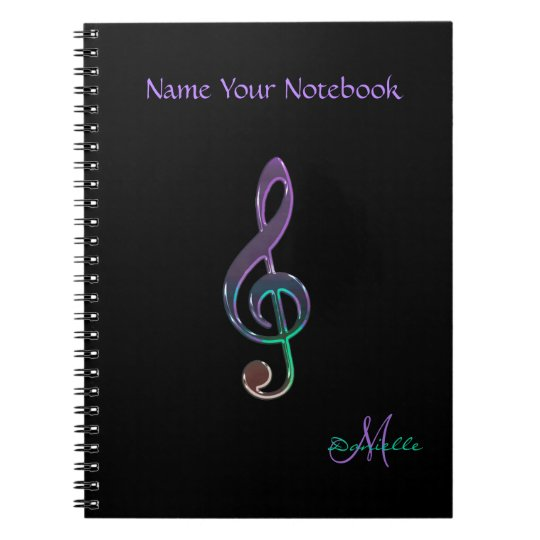 Personalised Colourful Music Clef Notebook
