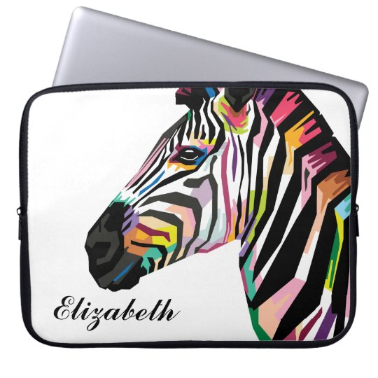 Personalised Colourful Pop Art Zebra Laptop Sleeve