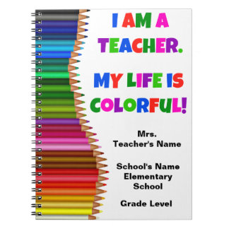 Personalised Colourful Teacher Notebook