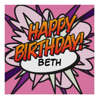 Personalised Comic Book HAPPY BIRTHDAY! pink Poster