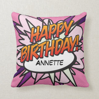Personalised Comic Book Pop Art HAPPY BIRTHDAY! Throw Pillow