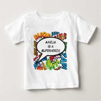 Personalised Comic Book Pop Art Speech Bubble Baby T-Shirt