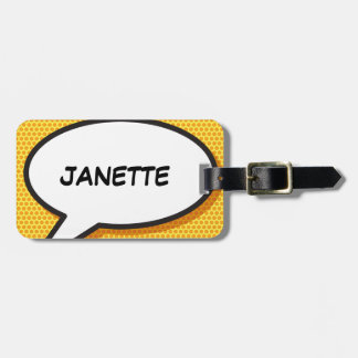 Personalised Comic Book Pop Art Speech Bubble Bag Tag