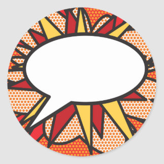 Personalised Comic Book Pop Art Speech Bubble Classic Round Sticker