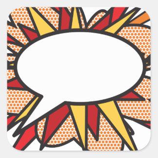 Personalised Comic Book Pop Art Speech Bubble Square Sticker