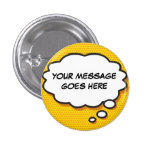 Personalised Comic Book Pop Art Think Bubble 3 Cm Round Badge