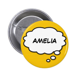 Personalised Comic Book Pop Art Think Bubble 6 Cm Round Badge