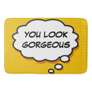 Personalised Comic Book YOU LOOK GORGEOUS bath mat