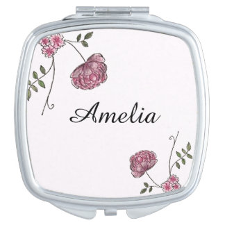 Personalised compact mirror decorated with flowers
