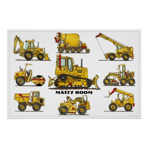 Personalised Construction Equipment Poster
