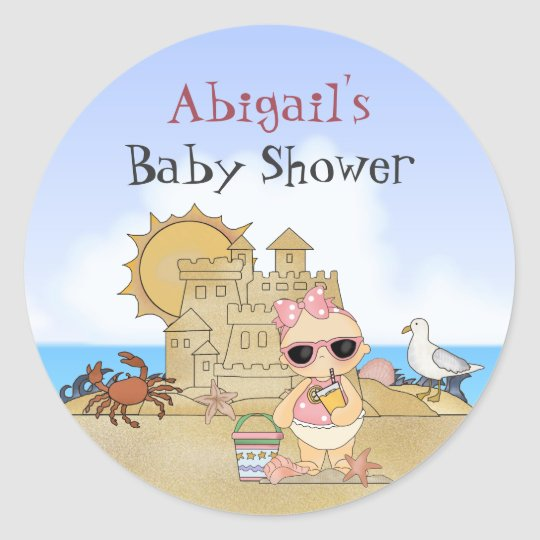 Personalised Cool Beach Baby Girl Baby Shower Classic