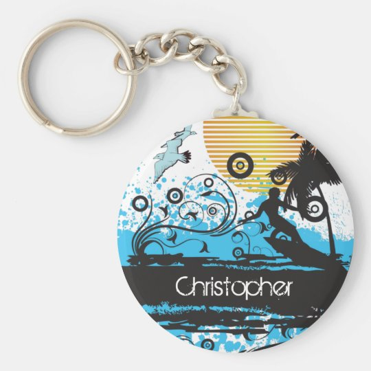 Personalised Cool Surfing Beach Surfer Keychain