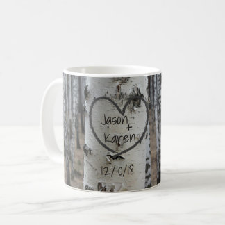 Personalised Country Rustic Carved Heart Coffee Mug