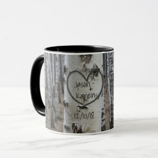 Personalised Country Rustic Carved Heart Mug