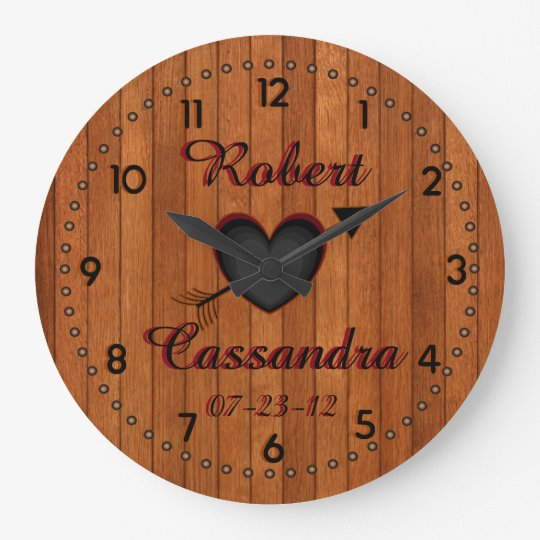 Personalised Country Style Faux-Wood Wall Clock