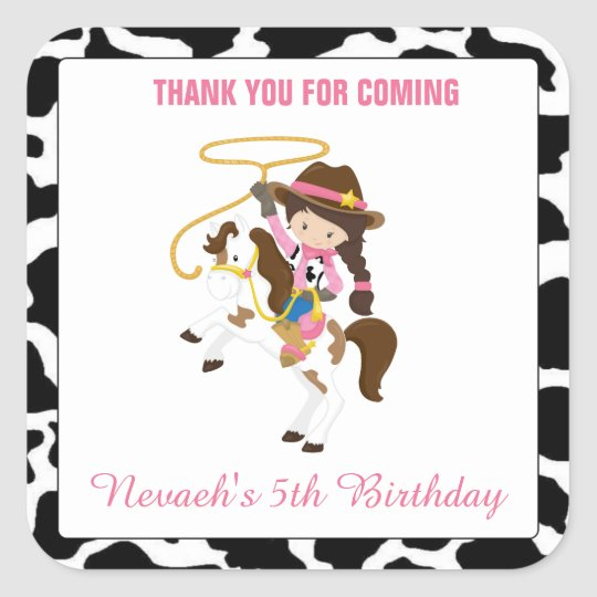 Personalised Cowgirl Square Stickers Seal Birthday