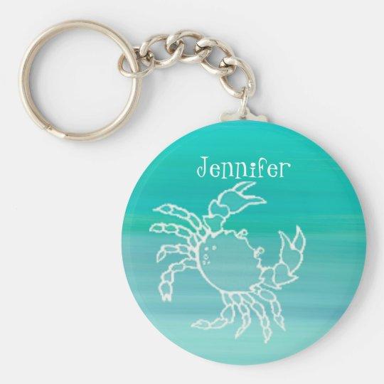 Personalised Crab in an aquamarine coloured ocean Key