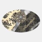 Personalised cream pretty girly damask pattern oval sticker