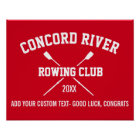 Personalised Crew Rowing Logo Oars Team Name Year Poster