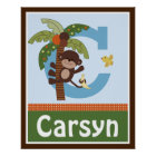 Personalised Curly Tails Monkey Name Poster