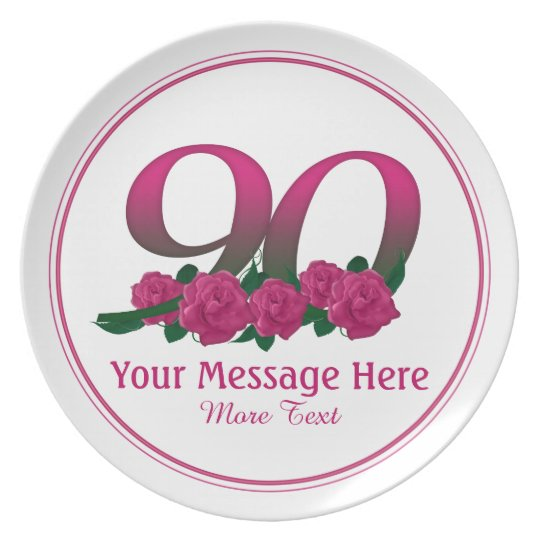 Personalised custom 90th number 90 flowers plate