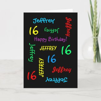 Personalised Custom Black 16th Birthday Card