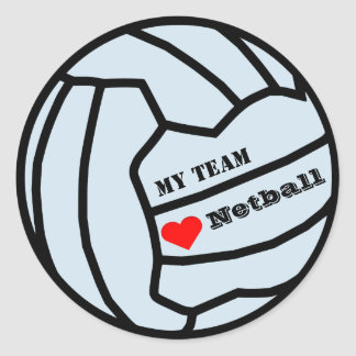 Personalised Custom Colour Love Netball Team Round Sticker