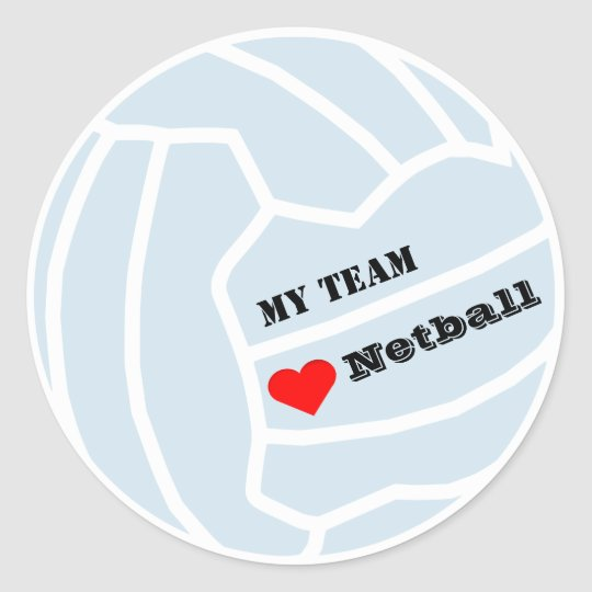 Personalised Custom Colour Netball Team Classic Round Sticker