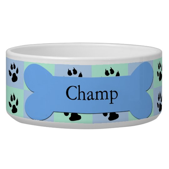 Personalised Custom Dog Bowl -- Blue Dog Bone