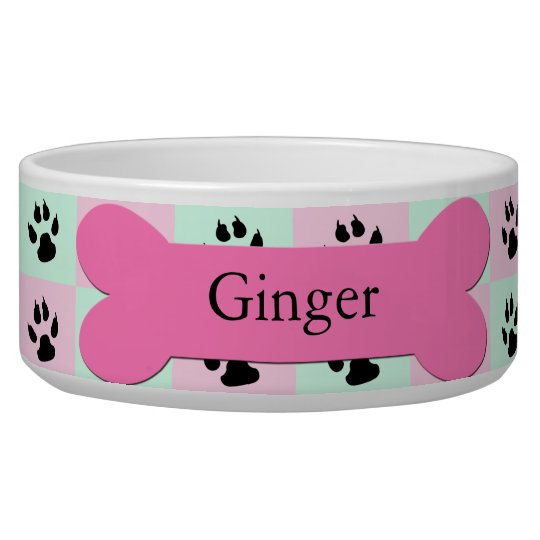 Personalised Custom Dog Bowl -- Pink Dog Bone