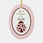 Personalised Custom Ornament Pink Ladybug