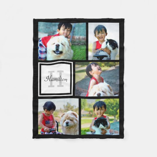 Personalised Custom Photo Collage Monogrammed Gift Fleece Blanket