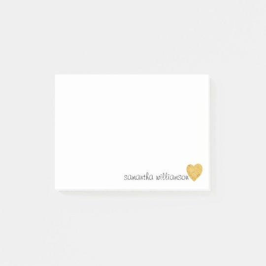 Personalised Custom Trendy Glam Gold Foil Heart Post-it