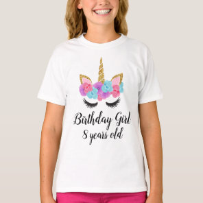 Personalised Custom Unicorn Birthday Girl T-Shirt
