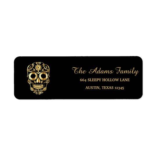 Personalised Custom Vintage Skull Halloween Return Address Label