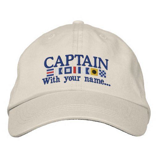 Personalised Custom Your Captain Nautical Flags Embroidered Hat