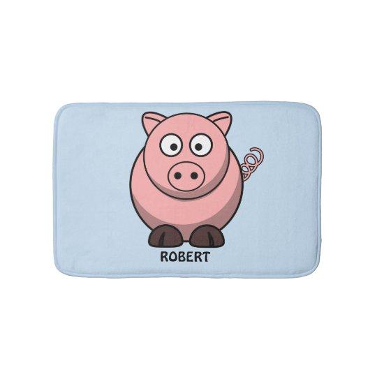 Personalised customised Animal Pig Blue Bath Mat