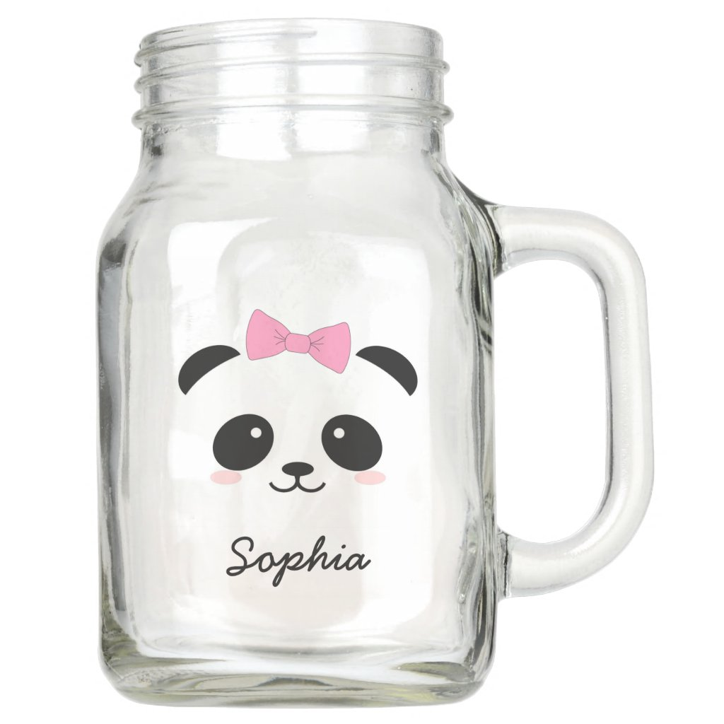 personalised cute animal panda girly mason jar