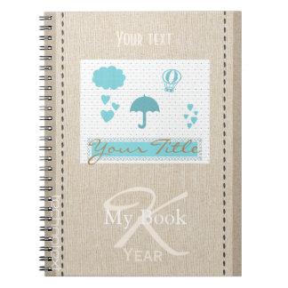 Personalised Cute Baby Kids Hearts Rain Notebooks