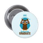 Personalised Cute Blue Owl Kindergarten Graduate 6 Cm Round Badge