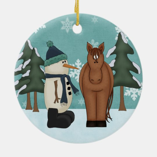 Personalised Cute Brown Horse and Funny Snowman Christmas