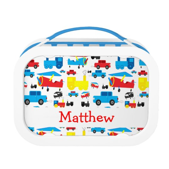 Personalised Cute Colourful Planes, Trains and Lunch Box