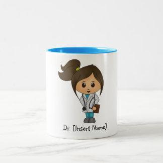 Personalised Cute Doctor Brunette Female, Blue Rim Two-Tone Coffee Mug