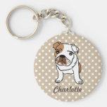 Personalised Cute English Bulldog Basic Round Button Key Ring