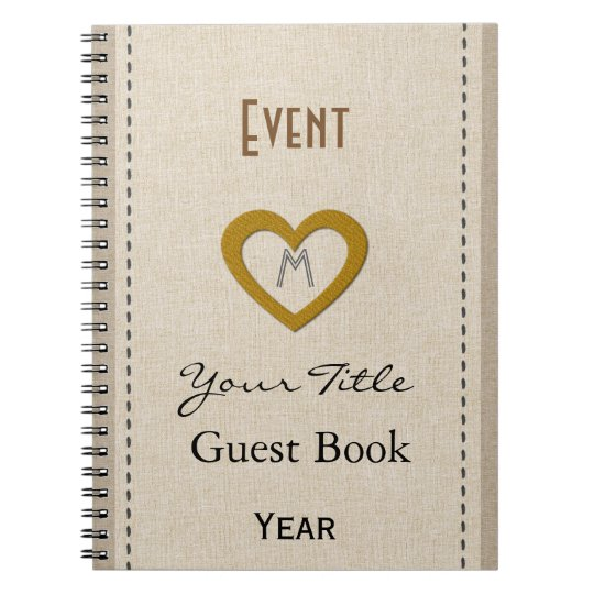 Personalised Cute Event Year Gold Heart Guest Book
