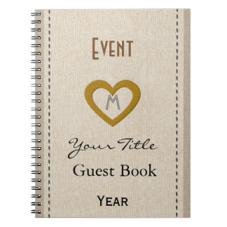 Personalised Cute Event Year Gold Heart Guest Book Note Book