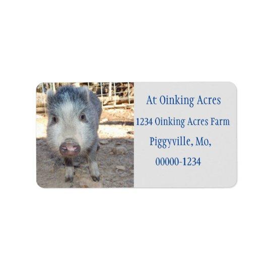 Personalised Cute Grey Mini Pig Address Labels